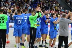 EHF EURO 2020 Qualifiers handball game Ukraine v Denmark. KYIV, UKRAINE - JUNE 12, 2019: Players of Ukraine National handball team thank their fans for support stock image