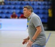 EHF EURO 2020 Qualifiers handball game Ukraine v Denmark. KYIV, UKRAINE - JUNE 12, 2019: Sergej BEBESHKO, head coach of Ukraine National handball team in action stock images