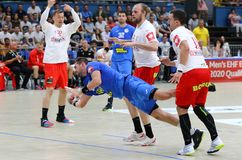 EHF EURO 2020 Qualifiers handball game Ukraine v Denmark. KYIV, UKRAINE - JUNE 12, 2019: Stanislav ZHUKOV of Ukraine attacks during the EHF EURO 2020 Qualifiers stock photo
