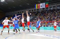 EHF EURO 2020 Qualifiers handball game Ukraine v Denmark. KYIV, UKRAINE - JUNE 12, 2019: Ukrainian players in Blue attack during the EHF EURO 2020 Qualifiers stock photos