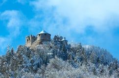 Ehrenberg城堡冬天视图(奥地利,巴伐利亚) 免版税库存照片