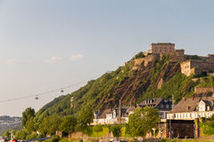 Ehrenbreitstein Fortress bathed in afternoon light and Cableway connecting it to Koblenz, Germany royalty free stock photo