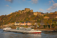 Ehrenbreitstein Fortress in Koblenz, Germany. Ehrenbreitstein Fortress  is a fortress on the mountain of the same name on the east bank of the Rhine opposite the Royalty Free Stock Photography