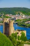 Ehrenfels城堡、城镇Ehrenfels莱茵河的在Ruedesheim附近和莱茵河畔宾根,黑森,德国 库存图片