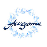 ehrfürchtig Handgeschriebene Tintenkalligraphie Handbeschriftung mit waterco Lizenzfreies Stockfoto