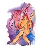 Ehrfürchtige Gitarristen Lizenzfreie Stockbilder
