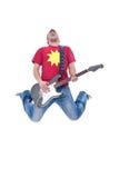 Ehrfürchtiger Gitarrenspieler springt stockbilder