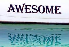 Ehrfürchtiges geschrieben auf die Seite eines Bootes in Spanien Stockbild