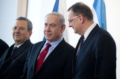 Ehud Barak, Benjamin Netanjahu and Petr Necas stock photo