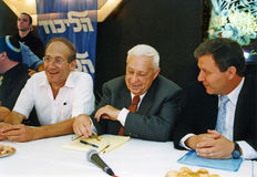 Ehud Olmert, Ariel Sharon e Meir Sheetrit Immagini Stock