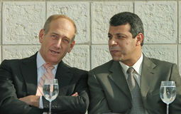 Ehud Olmert and Mohammed Dahlan. Then Deputy Prime Minister Ehud Olmert and then Palestinian Authority head security official Mohammed Dahlan chat outside the Royalty Free Stock Images