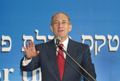 Ehud Olmert. Then Deputy Prime Minister Ehud Olmert welcomes new immigrants from North America to Israel at Ben-Gurion Airport in Lod, Israel on July 23, 2003 Stock Photos