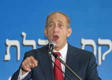 Ehud Olmert. Then Deputy Prime Minister Ehud Olmert welcomes new immigrants from North America to Israel at Ben-Gurion Airport in Lod, Israel,  on July 23, 2003 Stock Photography