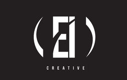 EI Ε Ι άσπρο σχέδιο λογότυπων επιστολών με το μαύρο υπόβαθρο Στοκ εικόνα με δικαίωμα ελεύθερης χρήσης