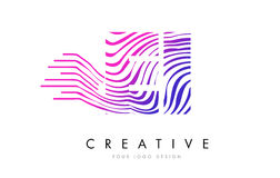 EI Ε Ι ζέβες σχέδιο λογότυπων επιστολών γραμμών με τα ροδανιλίνης χρώματα Στοκ Εικόνα