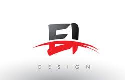 EI E I刷子与红色和黑Swoosh刷子前面的商标信件 免版税库存图片
