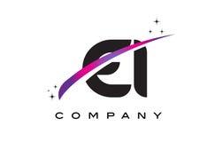 EI E I哥特式黑体字与紫色洋红色Swoosh的商标设计 免版税库存照片