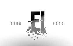 EI E I映象点与数字式被打碎的黑角规的信件商标 库存照片