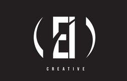 EI E I白色信件商标设计有黑背景 免版税库存图片