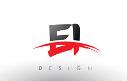 EI E I Brush Logo Letters with Red and Black Swoosh Brush Front Royalty Free Stock Image