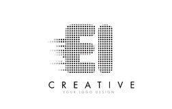 EI E I Letter Logo with Black Dots and Trails. Stock Photography