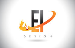 EI E I Letter Logo with Fire Flames Design and Orange Swoosh. Stock Photo