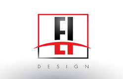 EI E I Logo Letters with Red and Black Colors and Swoosh. Royalty Free Stock Photography