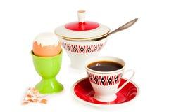 Ei en koffie voor een ontbijt Stock Foto's