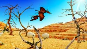 Ei en pterodactylus het 3d teruggeven Royalty-vrije Stock Foto's