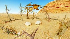 Ei en pterodactylus het 3d teruggeven Royalty-vrije Stock Fotografie