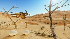 Ei en pterodactylus het 3d teruggeven Stock Afbeeldingen