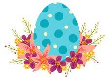 Ei met kleurrijke bloemen Stock Fotografie