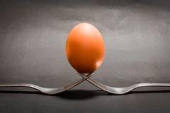 Ei op vorken Stock Fotografie