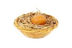 Ei in rotanmand op wit wordt geïsoleerd dat Royalty-vrije Stock Afbeelding