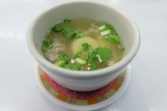 Ei-Tofu-Suppe, thailändisches einfaches Menü lizenzfreies stockfoto