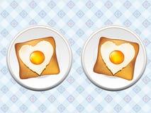 Ei und Brot mit loveness Lizenzfreie Stockfotos