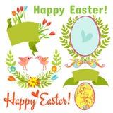 Ei, vogels, bloemen, Pasen royalty-vrije illustratie