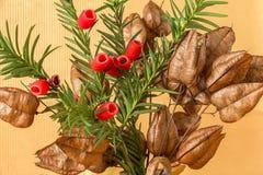 Eibenbaumanlage in einem Blumenstrauß Lizenzfreie Stockfotos