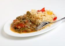 Eibischeintopfgericht und cajun Reis stockfoto