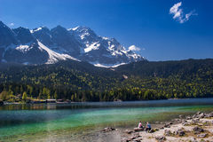 Eibsee, the emerald lake at the base of Zugspitze Stock Images