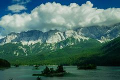 Eibsee in front of the Zugspitze in Germany stock image