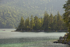 Eibsee. Hiking through the Bavarian Alps of Southern Germany royalty free stock photo