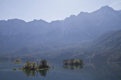 Eibsee islands Royalty Free Stock Images