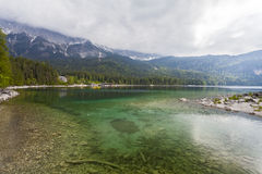 Eibsee lake. Bavaria. Germany. Crystal clear lake in the background of mountains Stock Photo