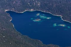 Eibsee lake germany as seen from the zugspitze peak from above Stock Images
