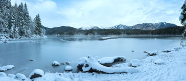 Eibsee lake (Germany) winter panorama. Royalty Free Stock Photo