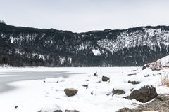 Eibsee lake in winter Royalty Free Stock Photo