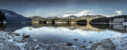 Eibsee lake winter panorama Royalty Free Stock Images