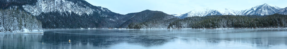Eibsee lake winter panorama. Stock Image
