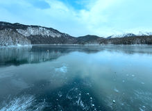 Eibsee lake winter view. Royalty Free Stock Photography